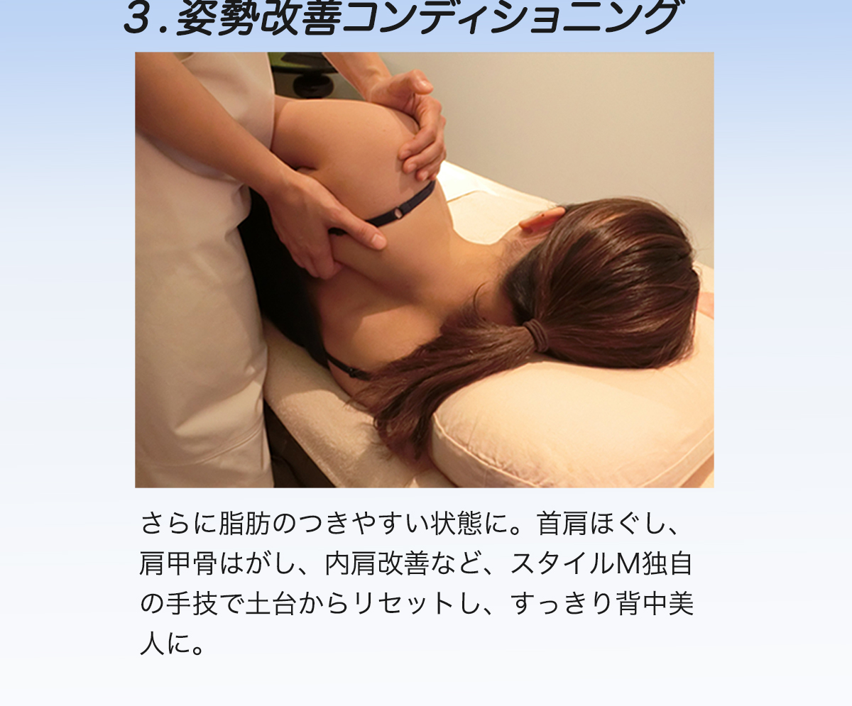3.姿勢改善コンディショ二ング さらに脂肪のつきやすい状態に。首肩ほぐし、肩甲骨はがし、内肩改善など、スタイルM独自の手技で土台からリセットし、すっきり背中美人に。